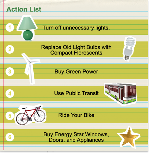 Turn off unnecessary lights. Replace old lightbulbs with compact fluorescents.Buy green power. Use public transit. Ride your bike. Buy Energy Star windows, doors, and appliances.